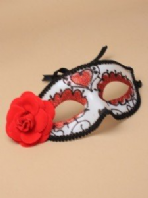Sugar skull mask with black braid and ribbon ties (code 2305)